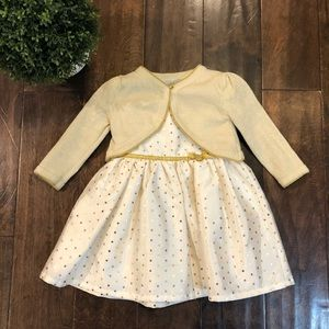 12M Cream and Gold Dress from Carter's